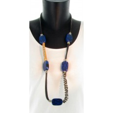 Collier imitation cuir rectangles résine bleu et noir