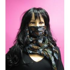 Foulard masque à motif épi de blé bleu ciel, kaki et taupe