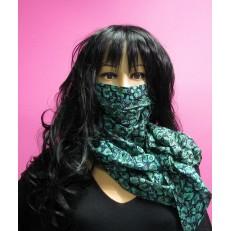 Foulard masque à motif épi de blé bleu ciel, taupe et kaki