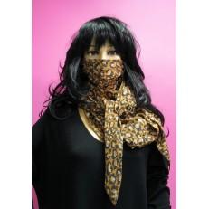 Foulard masque à motif empreintes de pas marron et noires