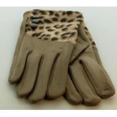 Gant beige imprimé léopard