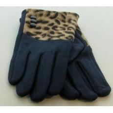 Gant bleu marine imprimé léopard