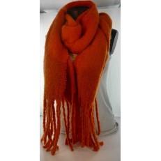 Echarpe doudou orange à franges