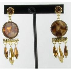 Boucles d'oreilles en métal doré, pampilles moutarde et marron