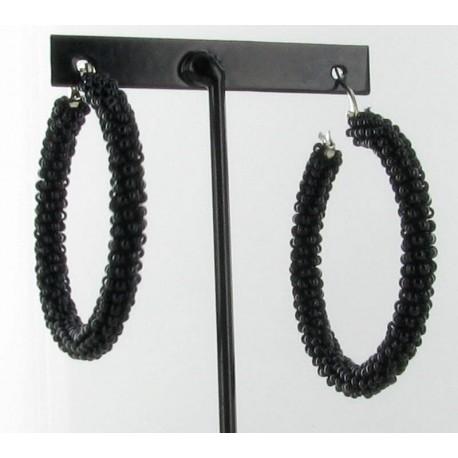 Boucles d'oreilles créole en perles noires