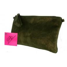 Sac pochette cuir couleur vert olive