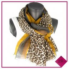 Echarpe léopard bordée d'une bande moutarde,