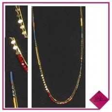 Collier double rang en métal doré vieilli et perles multi-couleurs,,