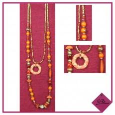 Collier double rang à dominance orange, perles dorées mat,