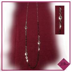 Collier en métal argenté perles noires et petits strass