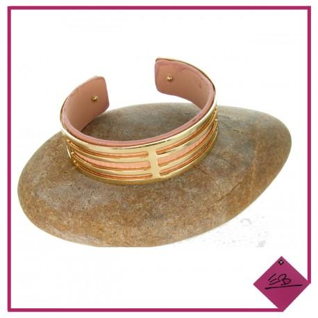 Bracelet demi-jonc en imitation cuir rose poudré et métal doré