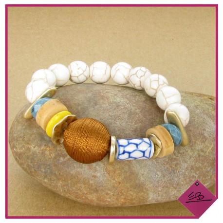 Bracelet élastiqué ivoire multi-matières