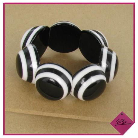 Bracelet elastiqué en résine noir et blanc