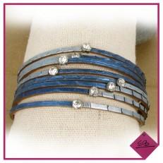 Bracelet multi-rangs en simili-cuir bleu