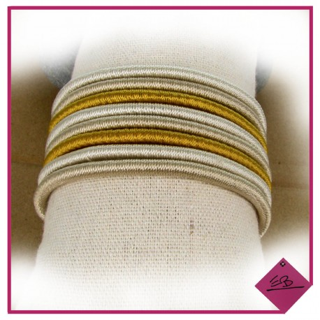 Bracelet tissus beige et moutarde fermeture à aimant