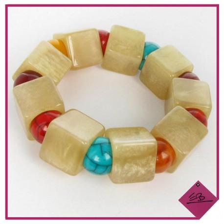 Bracelet élastiqué en résine couleur naturelle et perles rondes multi-couleurs