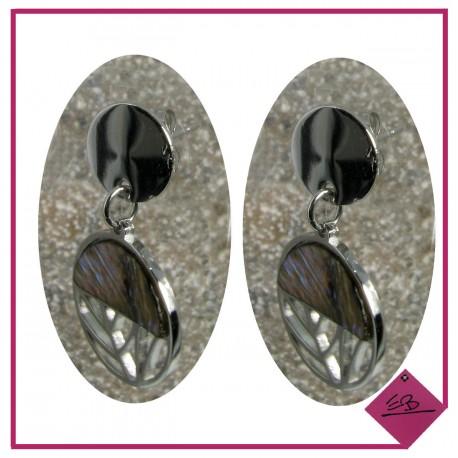 Boucles d'oreilles en acier argenté et demi-cercle en nacre