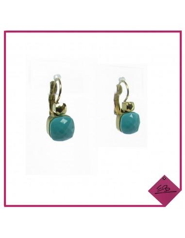 Boucles d'oreilles en acier doré et pierre turquoise à facettes