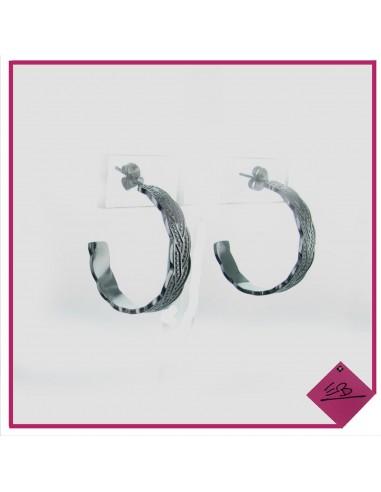 Boucles d'oreilles demi créoles en acier argenté, motif tressé